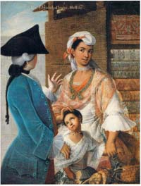 a casta painting of a Spanish man, Indian woman, and their child